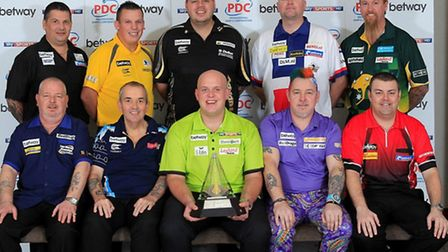 Peter Wright (front row, second right) at yesterday's Premier League launch.