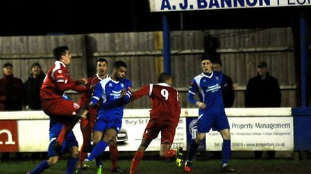 Action from Ram Meadow on Tuesday night as Leiston mount more pressure
