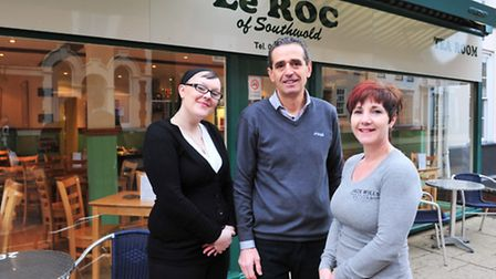 Gerard Amiel, Jane Unite (right) and chef Holly White outside Le Roc in Southwold.