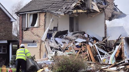 Scene of devastation at the site of an explosion in Cloes Lane, Clacton.