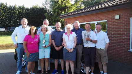 Prizewinners from the John Doe golf competition at Diss Golf Club with John Doe, his sons Edward and