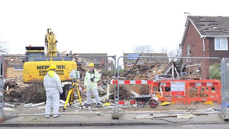 The first floor and roof of the remains of a home on Cloes Lane were demolished after yesterday's s