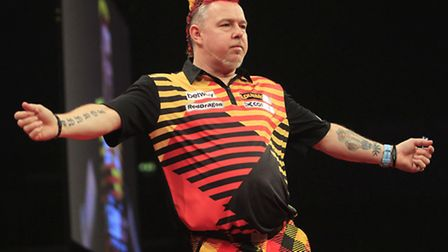 Peter Wright celebrates victory in Liverpool. Picture: Lawrence Lustig