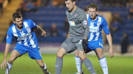 Ryan Dickson and Tom Eastman keep a watchful eye during the goalless draw against Rotherham