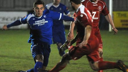 Bury Town v Leiston Town in the Suffolk Senior Cup semi-final at AFC Sudbury Liam Wales and Adam