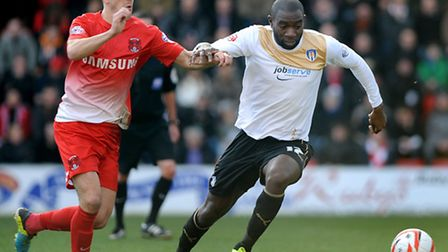 Jabo Ibehre holds off Lloyd James at Leyton Orient on Saturday