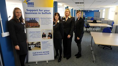 The new NWES Enterprise Centre in Bury. From left, Dina Borisovich, Sarah Payne, Alison Morrissey (a