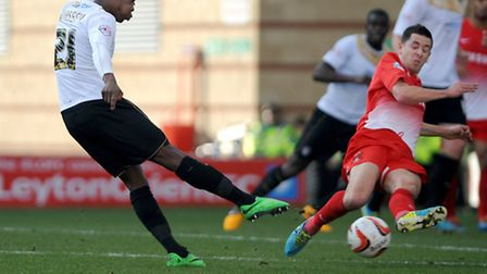 Gavin Massey fires in a shot at Leyton Orient