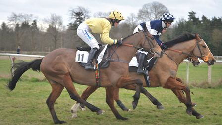Womens open race at Higham Point to Point.