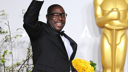 Director Steve McQueen with his Oscar for Best Film received for '12 Years a Slave' in the press roo