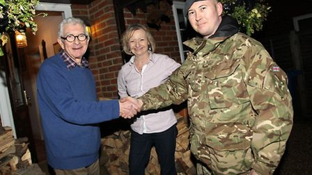 Frank and Jackie Guttfield thanking the RAF for sandbags