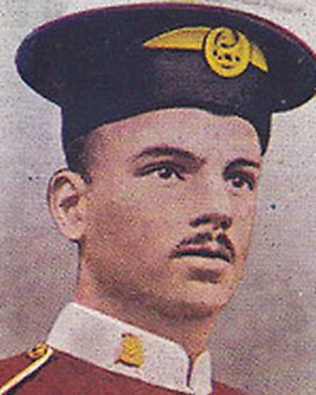 A picture of Private Samuel Harvey on a cigarette card.