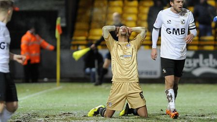 Craig Eastmond after an early second half miss at Port Vale on Tuesday night. The U's are in action