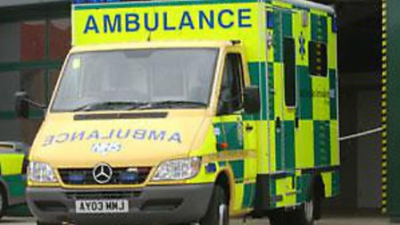 A woman was taken to hospital after being in a collision with a car