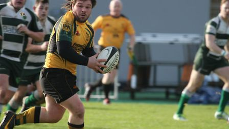 Bury's Beau Gibson rumbles forward in the win at Guernsey