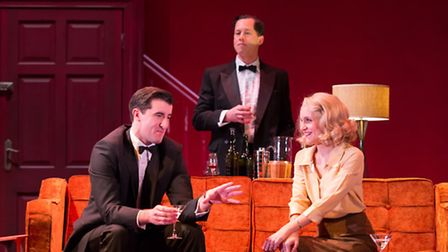 Philip Cairns as Max Halliday, Daniel Betts as Tony Wendice and Kelly Hotten as Sheila Wendice in Di