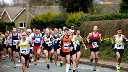 Runners taking part in the Tarpley 10 and 20 mile races from Beyton Middle School on Sunday morning
