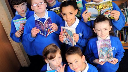 Thorndon Primary School celebrate opening of new library.