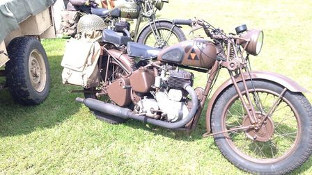 1940s motorbike on display at the Greyhound pub's 1940s weekend. Picture: Mark Bancroft