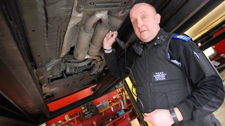 PCSOs Jamie Fudge from the Babergh West Safer Neighbourhood Team (SNT) during a clamp -down last yea