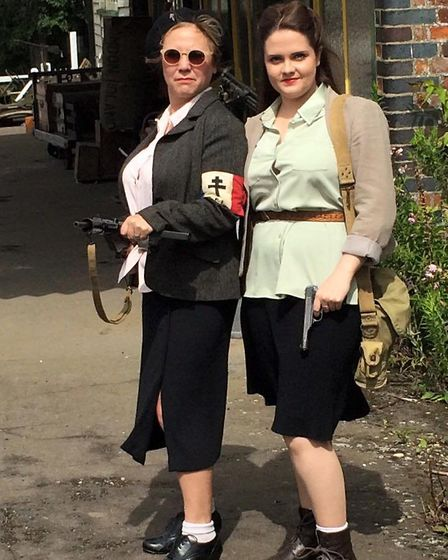 Ladies in 1940s dress for the 1940s wartime weekend in Tibenham. Picture: Mark Bancroft