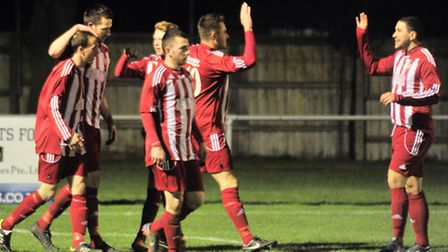 Another goal! Felixstowe celebrate their third against Newmarket.
