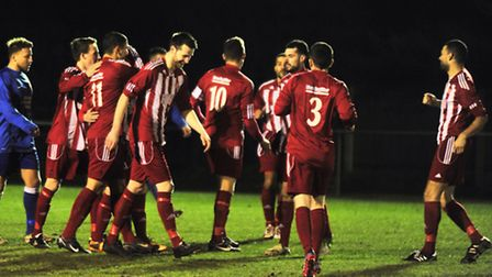 Felixstowe celebrate Danny Thrower's opening goal against Newmarket after just two minutes