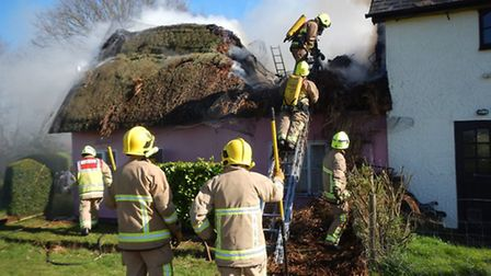 The thatch fire at Wissington Photo: Tony Faulkner, Suffolk Fire and Rescue Service