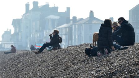 Crowds headed to Aldeburgh beach to enjoy the warm March weather.