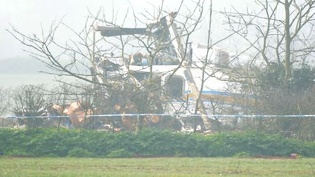 The helicopter crash scene at Gillingham. Picture: James Bass