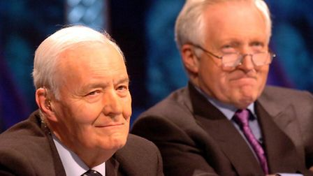 Tony Benn with David Dimbleby filming Question Time in Ipswich in 2006