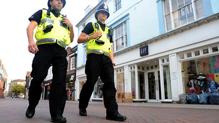 Police patrol the streets of Ipswich Town Centre