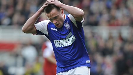 Paul Taylor is disappointed to miss a good first half chance at Middlesborough. PHOTO: PAGEPIX LTD