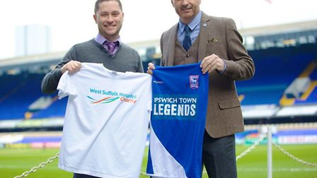 Fundraising manager at West Suffolk Hospital, Dave Gooderham and ITFC academy sponsorship manager Si