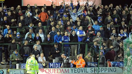 Some of the large contingent of Ipswich fans who made the long trip to Yeovil on Tuesday night