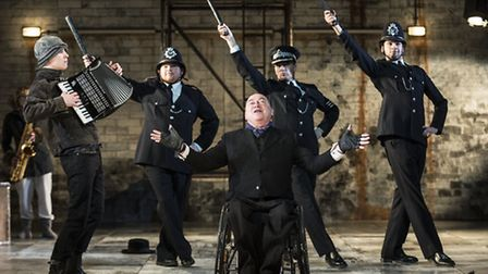 Joey Hickman, Stephen Collins, Garry Robson, TJ Holmes and Will Kenning in The Threepenny Opera. Pi