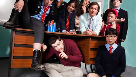 BBC 3's Bad Education was the fourth most watched programme on i-player. Pictured: (l-r, back row-fr