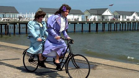 """On a bicycle made for two - Stars of the BBC TV comedy """"Little Britain"""", Matt Lucas and David Wallia"""