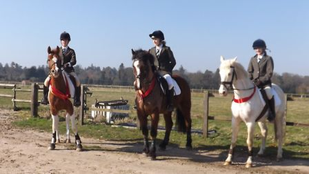 Langley School's equestrian team: Sophie Turner riding Rum Polly, Lottie Basey-Fisher riding on Clon