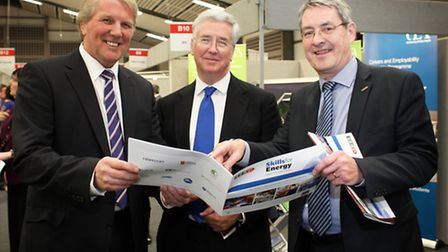 Energy Minister Michael Fallon (centre) with EEEGR chief executive Simon Gray (right) and director M
