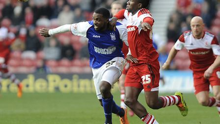 Ipswich Town striker Sylvan Ebanks-Blake battles for the ball with Middlesborough's Kenneth Omeruo a