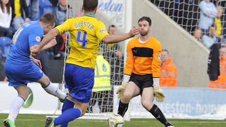 Freddie Sears scores Colchester's first goal. Colchester United won their match against Coventry Ci
