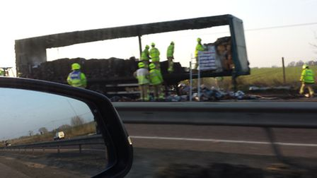The remains of the lorry that caught fire on the A120