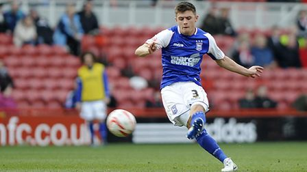Aaron Cresswell strikes a long-range free-kick wide of the target during the second half at Middlesb