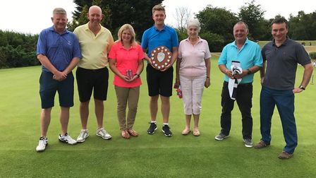 The leading players in the Peter Palmer Memorial competition with Simon Palmer and Diss Golf Club ca