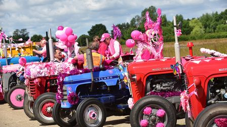 The 13th annual Ladies' Tractor Road Run leaving from Thorpe Abbotts Airfield raising money for Canc