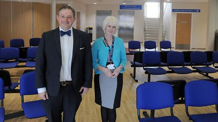 Dr Stephen Feltwell and practice manager Jenny Molloy inside the new Grove Medical Centre in Felixst
