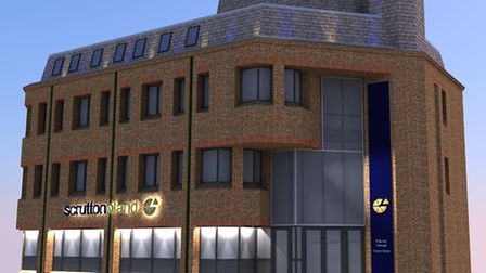 A computer generated image of how the new Scrutton Bland offices in Crown Street, Ipswich, will look