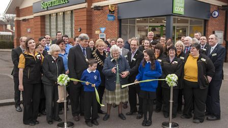 Cynthia Revell cuts the ribbon on Aldeburghs new look East of England Co-op supermarket in Aldeburg