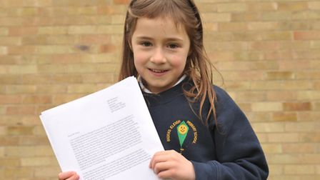 Monks Eleigh Primary pupil Henrietta Watson has written to Michael Gove to help save the school.